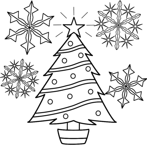 Christmas Tree And Snowflakes Cutout