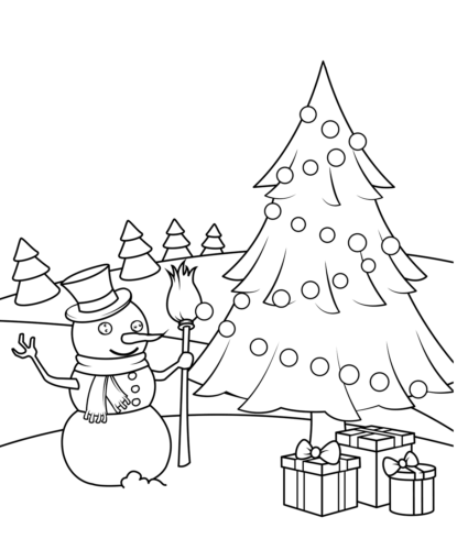 Christmas Tree And Snowman Coloring Page