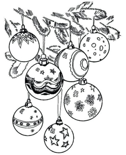 Christmas Tree Ornaments Coloring Pictures Printable