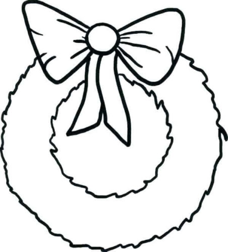 Christmas Wreath Coloring Page For Preschoolers