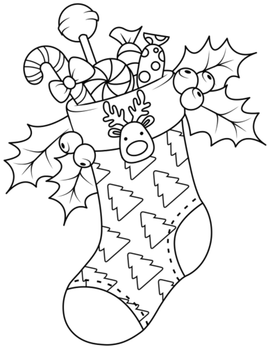 Cute Christmas Stocking Coloring Pages