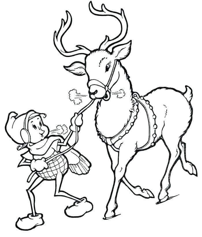 Elf And Reindeer Coloring Page