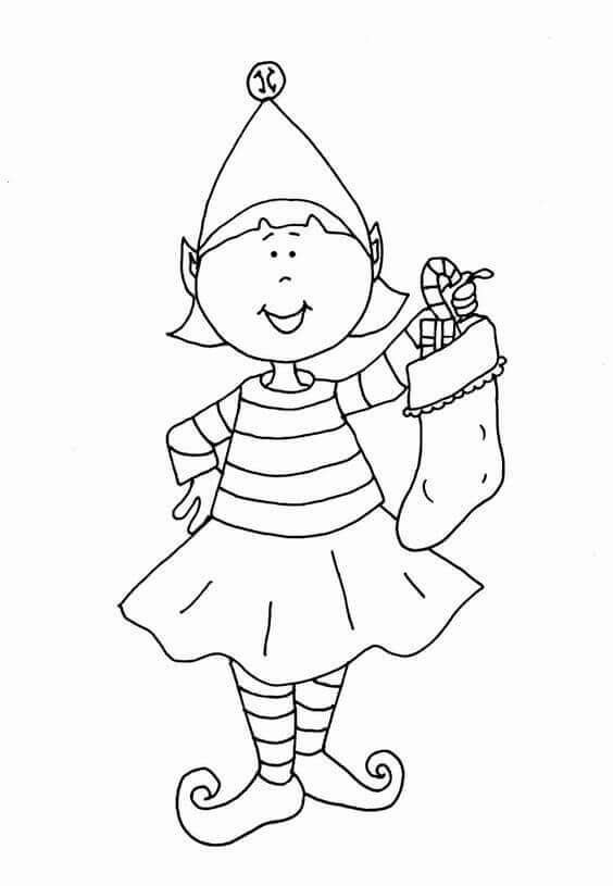 Elf With Stocking Coloring Page