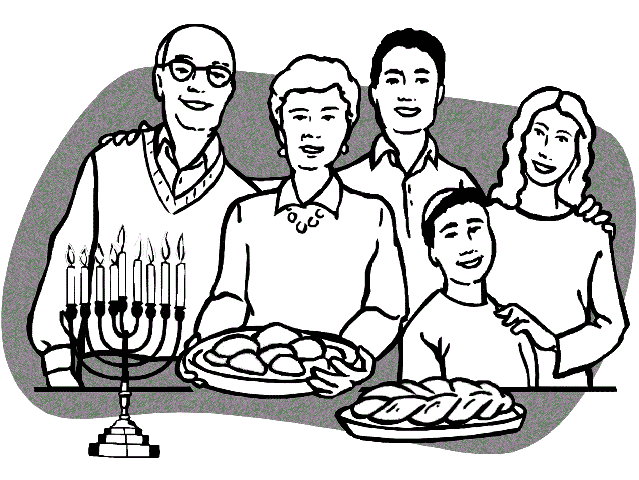 Family Celebrating Hanukkah Coloring Page