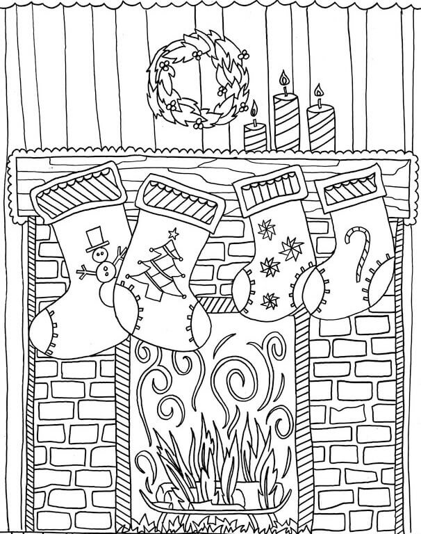 Free Printable Christmas Stockings Coloring Pages