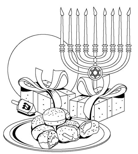 Hanukkah Food Coloring Pages