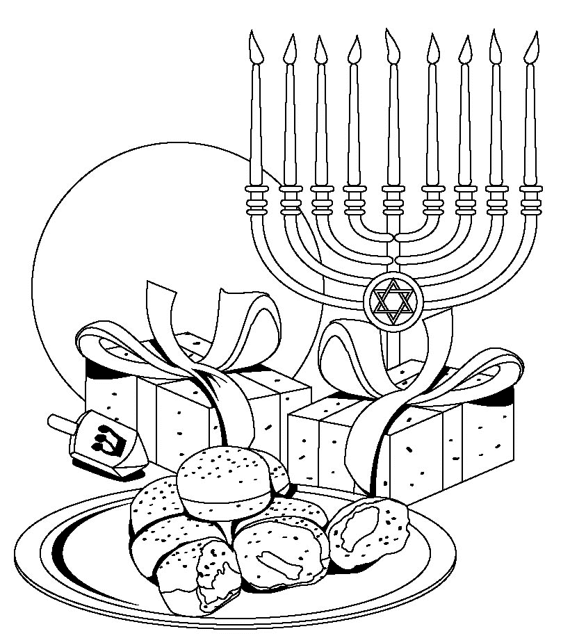 Hanukkah Food Coloring Pages