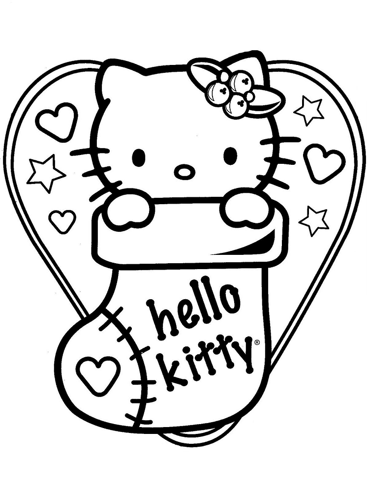 Hello Kitty In Christmas Stockings Coloring Picture