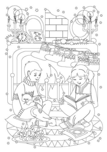Kids In Front Of Mantelpiece Filled With Stocking Coloring Sheet