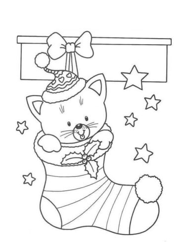 Kitten In Christmas Stocking Coloring Page