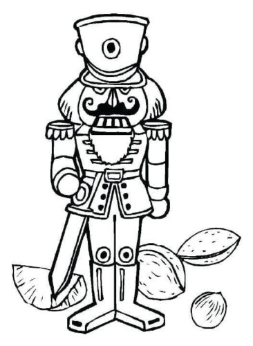 Nutcracker Cracking Nuts Coloring Page