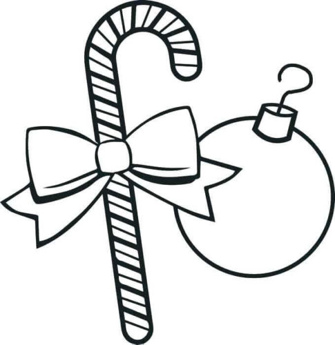 Ornaments And Candy Cane Coloring Page