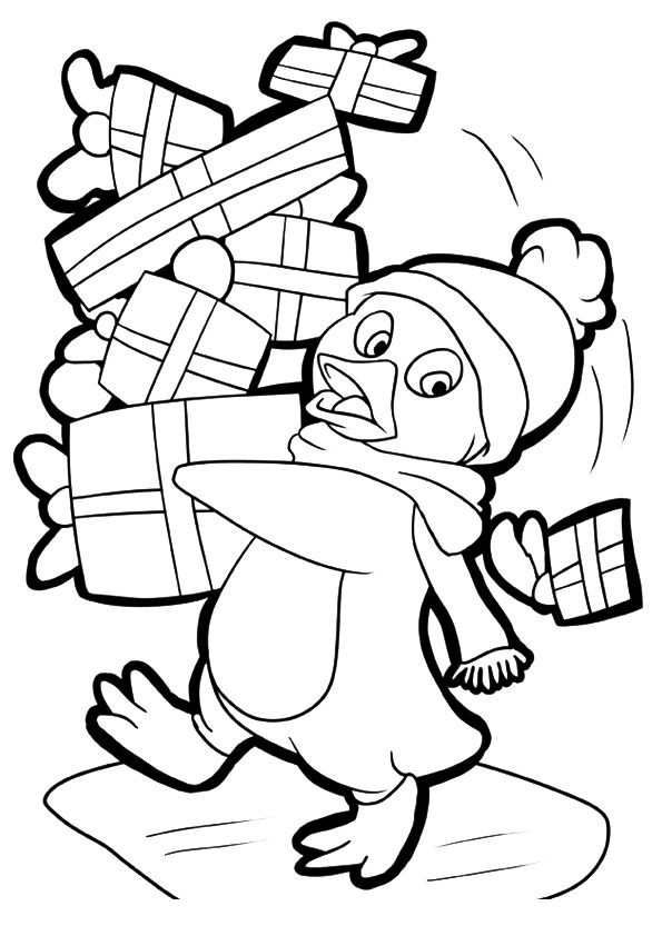 Penguins With Gifts Coloring Page