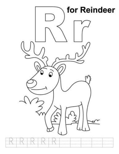 R For Reindeer Coloring Page