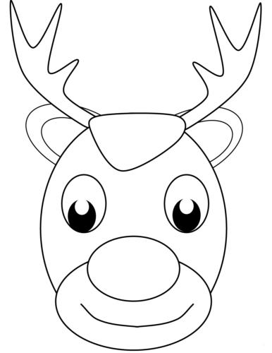Reindeer Head Coloring Pages