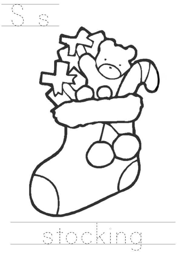S For Stocking Coloring Page For Preschooler