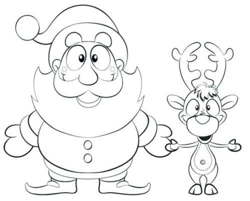 Santa And Reindeer Coloring Pages