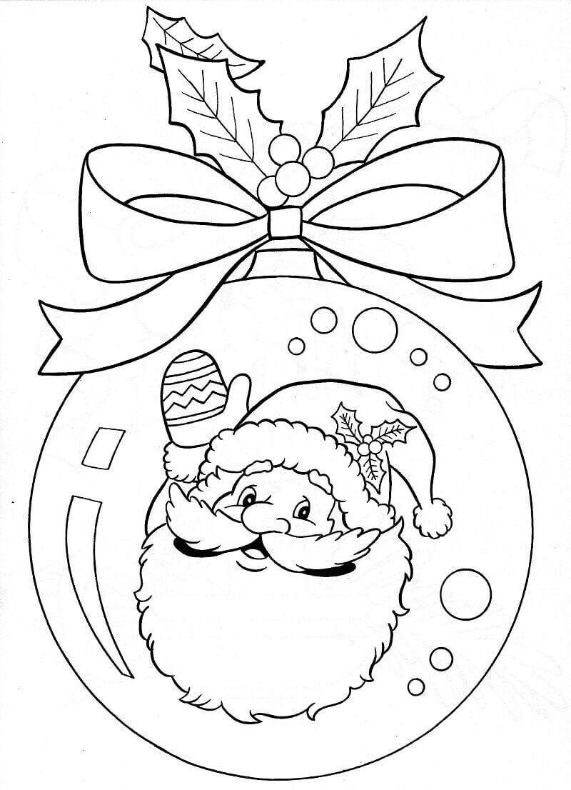 Santa Claus Christmas Ornament Coloring Printable