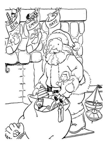 Santa Filling The Stockings Coloring Page