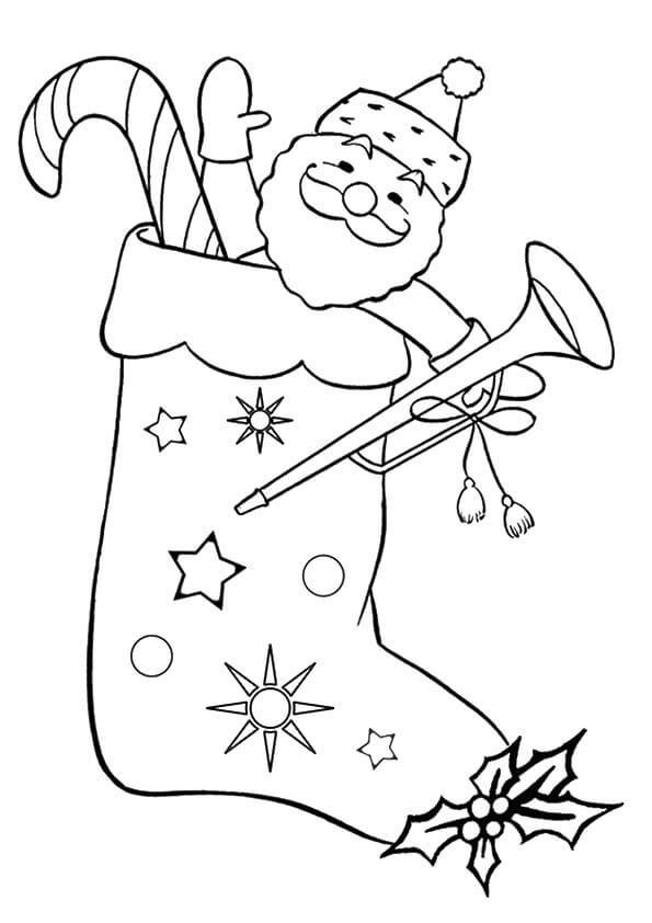 Santa In Stocking Coloring Page