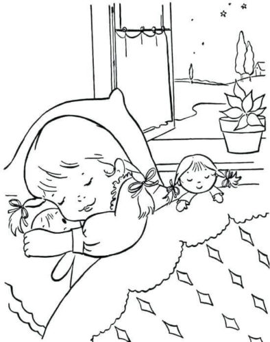 Sleepy Winter Coloring Page