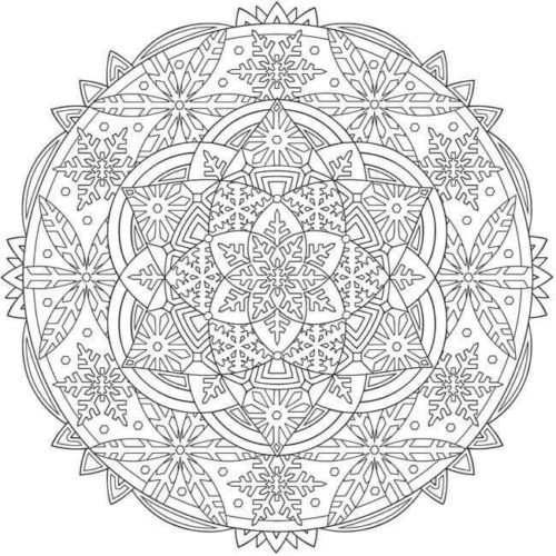 Snowflake Mandala Coloring Pages Printable