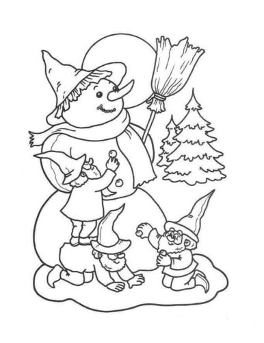 Snowman And Dwarfs Coloring Pages