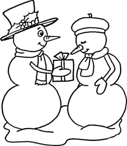 Snowman Couple Coloring Page