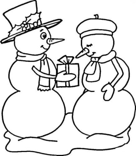 Snowman Couple Coloring Page