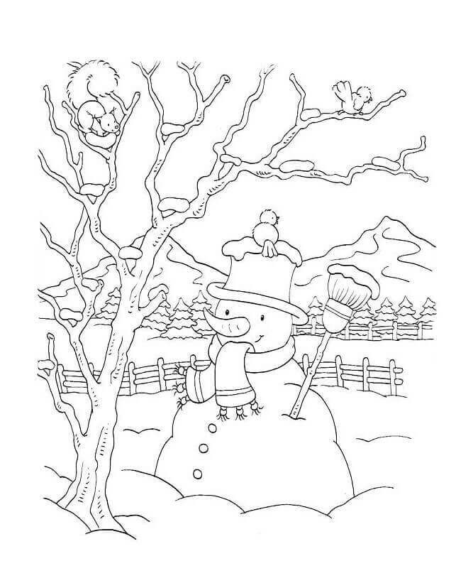 Snowman In The Backyard Coloring Page
