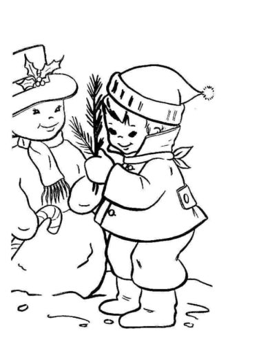 Snowman Making Coloring Page