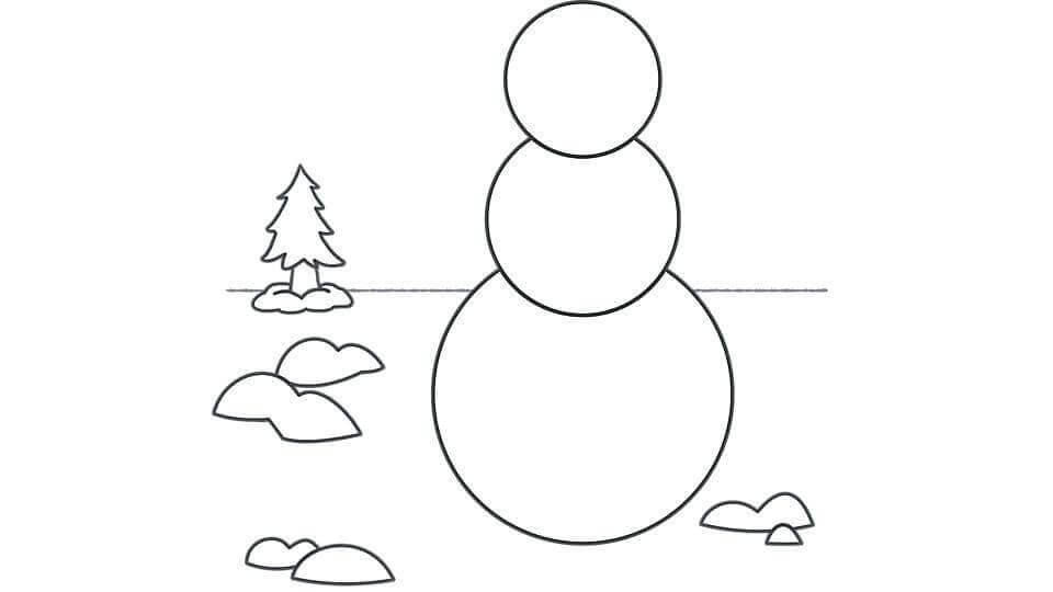 Snowman Outline Template