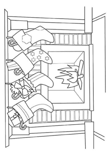 Stockings Hung On Mantelpiece Coloring Page