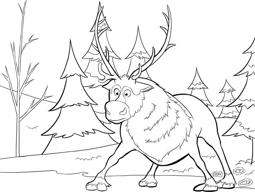Sven Reindeer Coloring Page