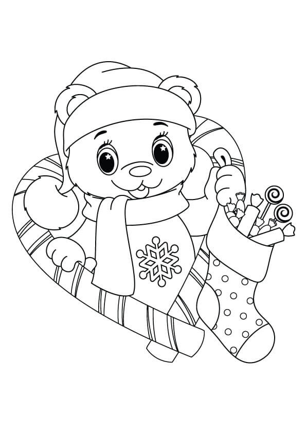 Teddy Bear With Stocking Coloring Page