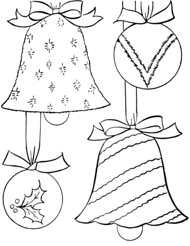 Vintage Christmas Ornaments Coloring Page