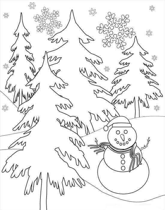 Winter And Snowflakes Coloring Page