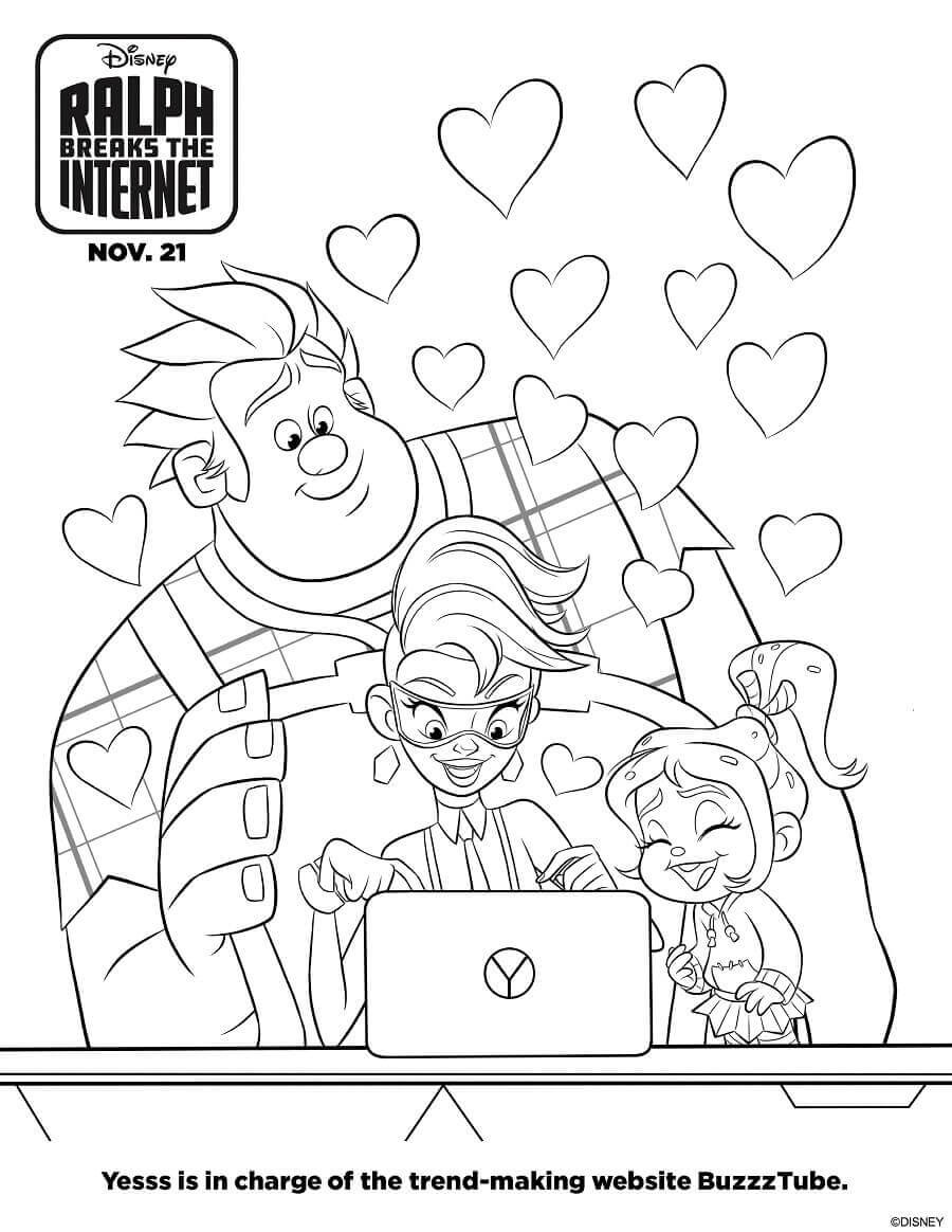 Ralph Breaks The Internet Coloring Pages Free Printable