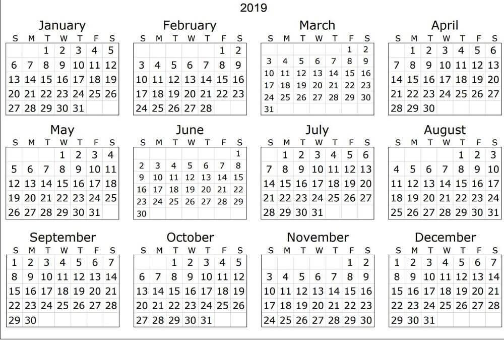 2019 Calendar Coloring Page