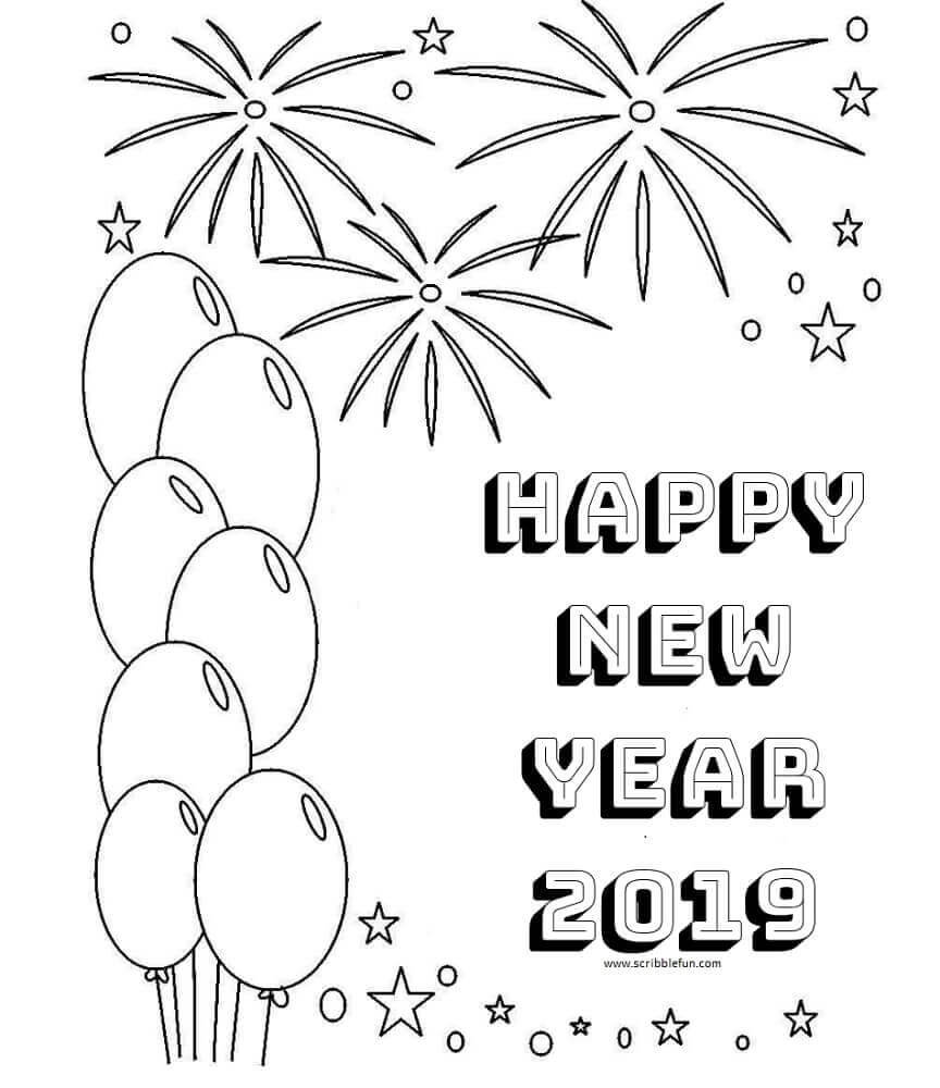 2019 New Year Coloring Pages
