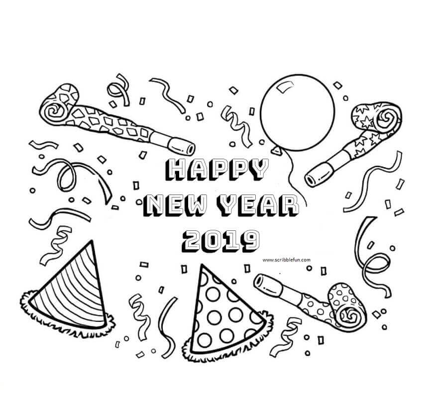 2019 New Year Colouring Pages