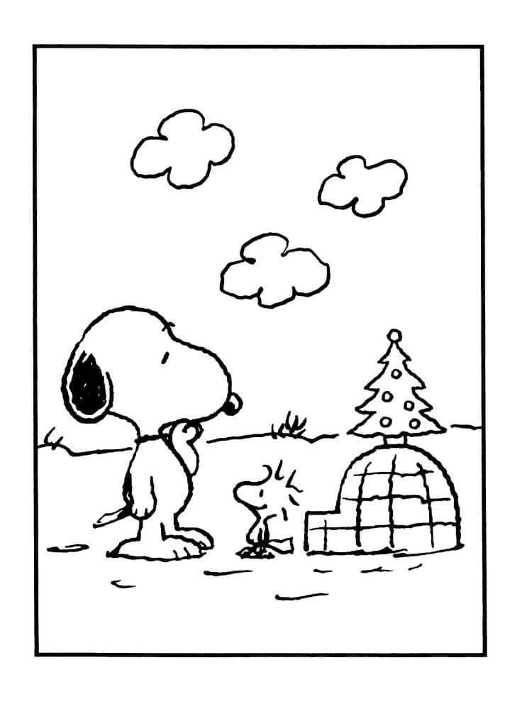 A Charlie Brown Christmas Stockings Coloring Page Snoopy And Woodstock