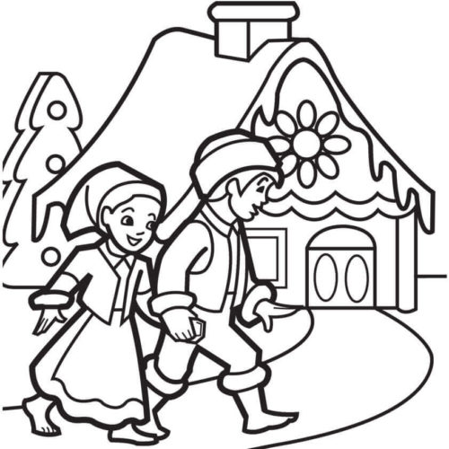 Boy And Girl Visiting Gingerbread House Coloring Page
