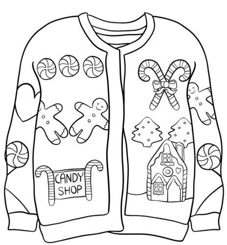 Candy Shop Christmas Sweater Coloring Picture
