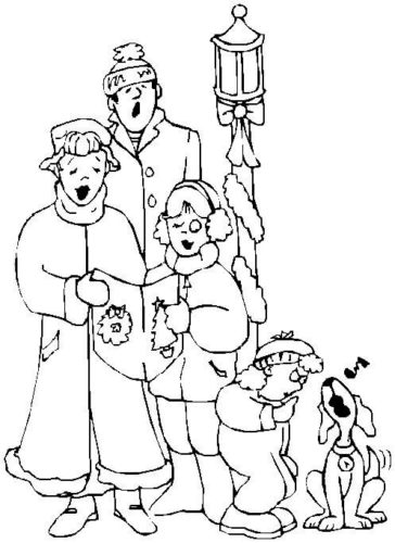 Caroler Family Singing Coloring Page