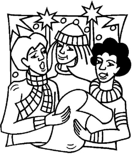 Carolers At Party Coloring Page