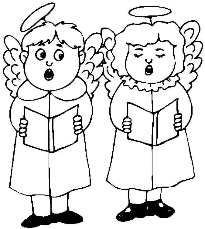 Carolers Dressed As Angels Coloring Page
