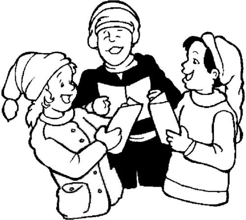 Carolers Enjoying Coloring Page