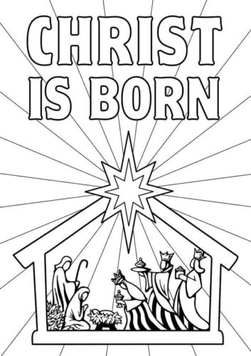 Baby Jesus in a Manger coloring page | Free Printable Coloring Pages | 500x353