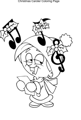Christmas Carol Singer Coloring Page
